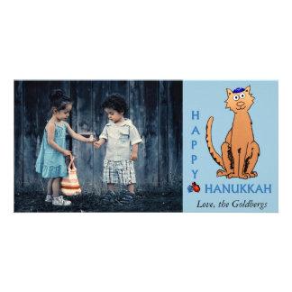 Personalize Photo Hanukkah Cat with Dreidels Card