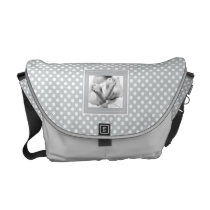Personalize Photo Polka Dots Diaper Bag, Gray Courier Bag