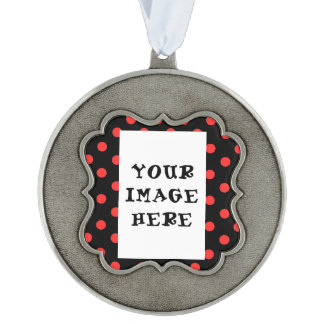 Personalize Photo Red Polka Dot Scalloped Ornament