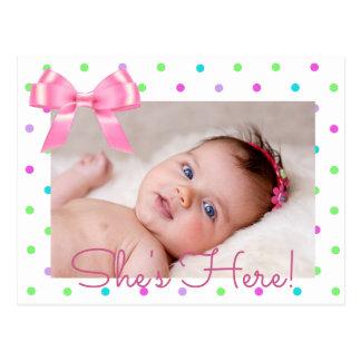 "Personalize Photo ""She's Here""  Birth Announcement Postcard"