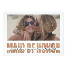 Personalized Photo Will You Be My Maid of Honor Cards