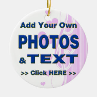 personalize photos text add images customize make Double-Sided ceramic round christmas ornament