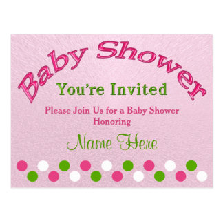 Personalize Pink and Green Baby Shower Invitations Postcard