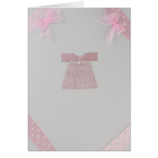 Personalize Pink Baby girl dress Baptism Card