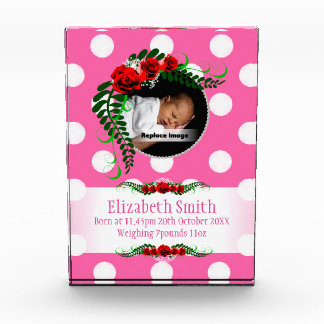Personalize Pink Baby Girl Memento Roses Pearls Award