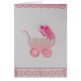 Personalize Pink baby stroller with white ribbon Card