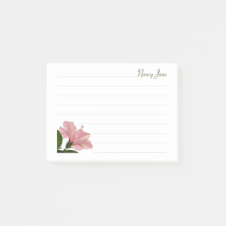 Personalize:  Pink Hibiscus Floral Photo Post-it Notes