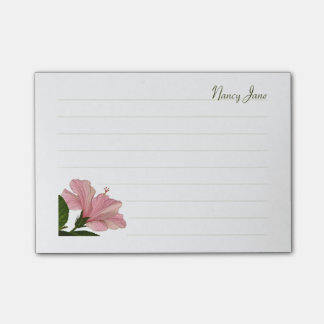 Personalize:  Pink Hibiscus Floral Photo Post-it® Notes