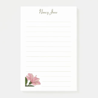 Personalize:  Pink Hibiscus Floral Photography Post-it Notes