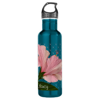 Personalize:  Pink Hibiscus Nature Photo 2 Stainless Steel Water Bottle