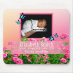 Personalize Pink Newborn Baby Girl Rose Sunset Mouse Pad