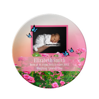 Personalize Pink Newborn Baby Girl Rose Sunset Porcelain Plate