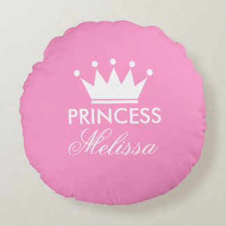 Personalize pink princess crown round throw pillow