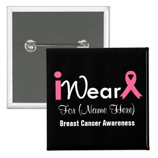 Personalize Pink Ribbon Breast Cancer Pinback Button
