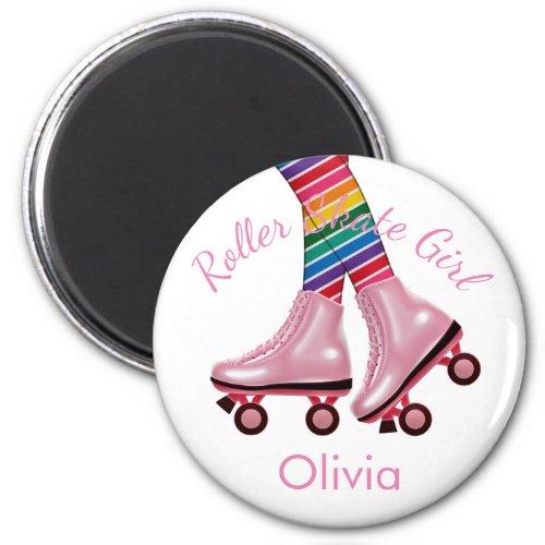 Personalize _ Pink Roller Skate Girl Magnet