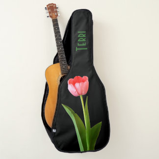 Personalize: Pink Tulip Floral Photography Cut Out Guitar Case
