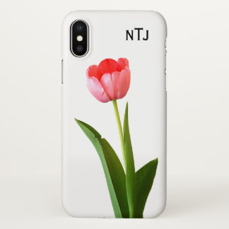 Personalize: Pink Tulip Floral Photography Cut Out iPhone X Case