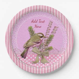 Personalize Pink Victorian Style Bird Paper Plates