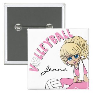 Personalize Pink Volleyball Cute Girl Button