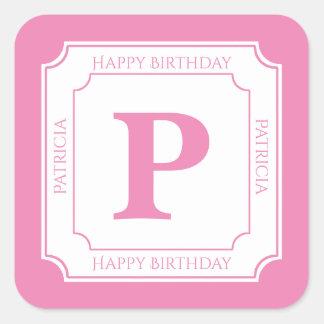 Personalize: Pink/White Bold Initials Birthday Square Sticker