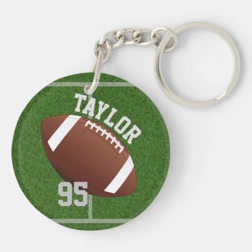 Personalize player Name and Number Football Keychain