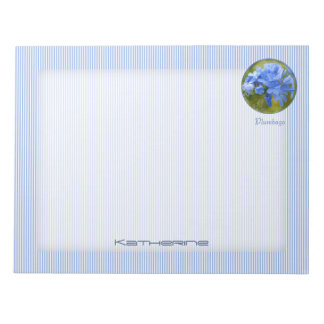 Personalize: Plumbago, Blue Summer Flowers Picture Notepad