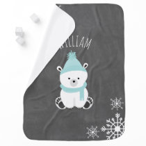 Personalize Polar Bear Baby Blanket - Blue