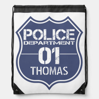 Personalize Police Department Shield 01 - Any Name Drawstring Backpacks