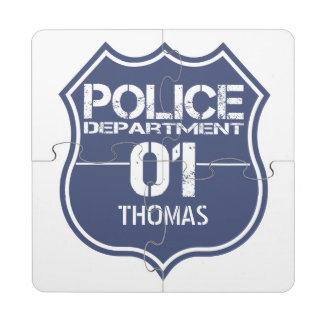 Personalize Police Department Shield 01 - Any Name Puzzle Coaster