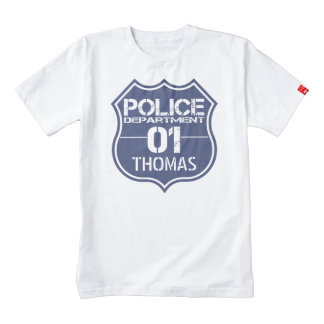 Personalize Police Department Shield 01 - Any Name Zazzle HEART T-Shirt