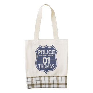 Personalize Police Department Shield 01 - Any Name Zazzle HEART Tote Bag