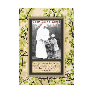 Personalize Portrait in Spring Branches Faux Frame Canvas Print