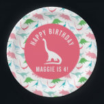 "Personalize Preppy Dinosaur Birthday Party Plate<br><div class=""desc"">These personalized birthday party plates will be the perfect finishing touch to your dinosaur birthday party. Featuring a dinosaur silhouette pattern and a silhouette of a triceratops in the middle of each plate. Customize the text to suite your party details. Shop the entire coordinating collection for all your dinosaur party...</div>"