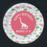 """Personalize Preppy Dinosaur Birthday Party Plate<br><div class=""""desc"""">These personalized birthday party plates will be the perfect finishing touch to your dinosaur birthday party. Featuring a dinosaur silhouette pattern and a silhouette of a triceratops in the middle of each plate. Customize the text to suite your party details. Shop the entire coordinating collection for all your dinosaur party...</div>"""
