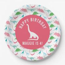 Personalize Preppy Dinosaur Birthday Party Plate