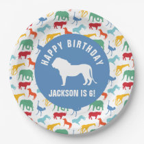 Personalize Preppy Lion Safari Animal Birthday Paper Plate