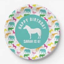 Personalize Preppy Zebra Safari Animal Birthday Paper Plate