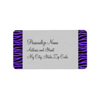 Personalize Purple and Black Zebra Address Label