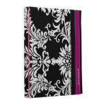 Personalize Purple Black & White Damask iPad Case