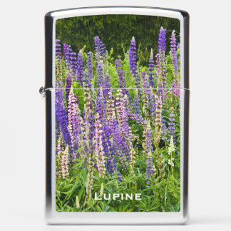 Personalize:  Purple/Pink Lupine Floral Picture Zippo Lighter