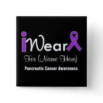 Personalize Purple Ribbon Pancreatic Cancer Pinback Button