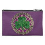 Personalize Purple Shamrock Travel Accessory Bag