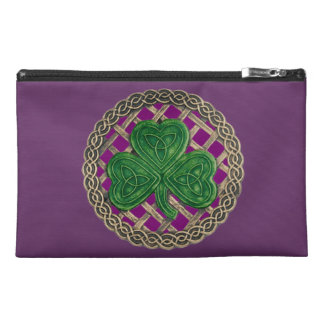 Personalize Purple Shamrock Travel Accessory Bag
