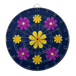 Personalize, purple yellow flowers on dark blue dartboard with darts
