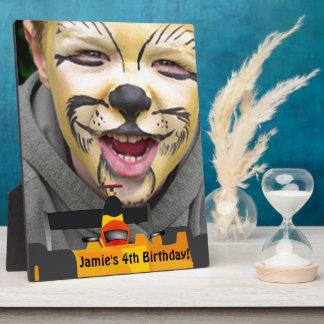 Personalize Race Car 4th Birthday Party Display Plaque