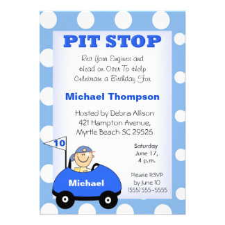 Personalize Race Car Birthday Invitations