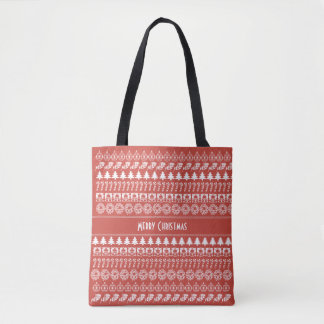 Personalize: Red and White Christmas Pattern Tote Bag