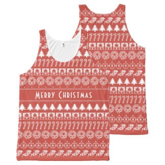 Personalize: Red and White Christmas Stripes All-Over-Print Tank Top