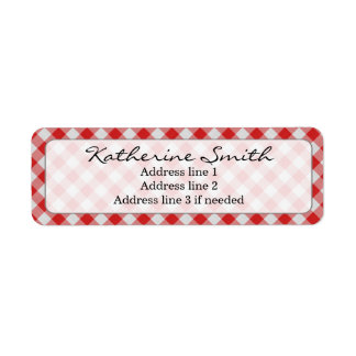 Personalize: Red and White Gingham Check Pattern Label