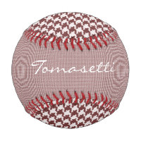 Personalize: Red and White Houndstooth Pattern Baseball